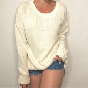 J. Crew Ivory Ribbed Pullover Sweater